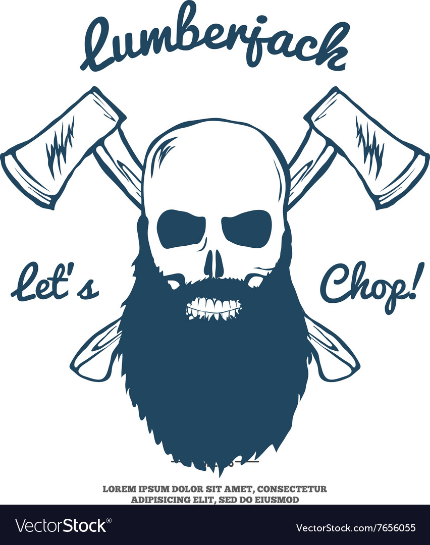 Lumberjack Skull with beard and Crossed Axes