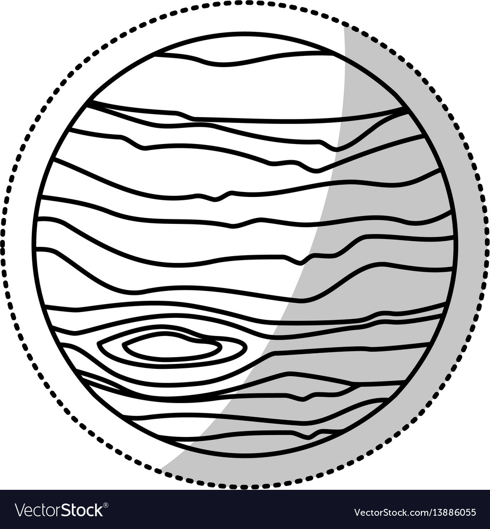 Mars planet space outline vector image