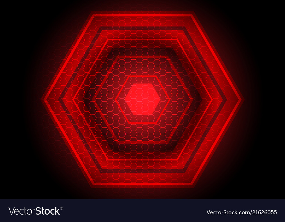 Red light hexagon power on black