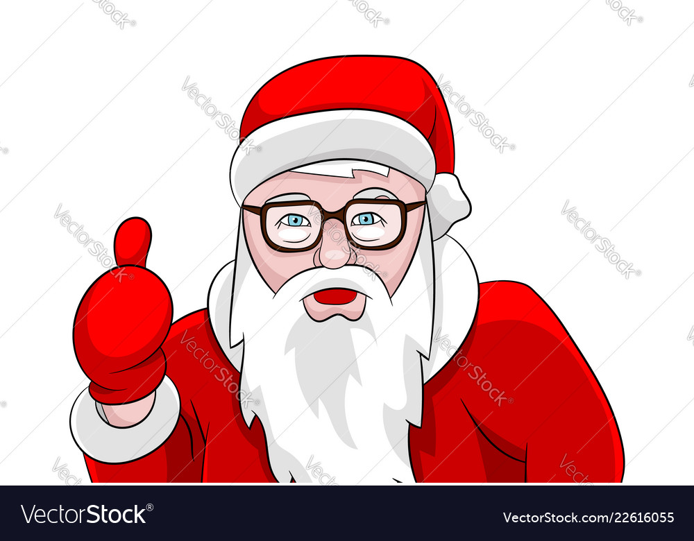 Santa claus thumbs up portrait isolated on white