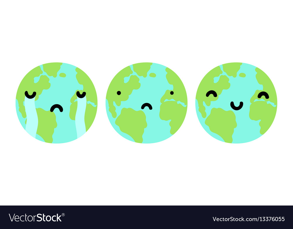 Three planets earth with different faces