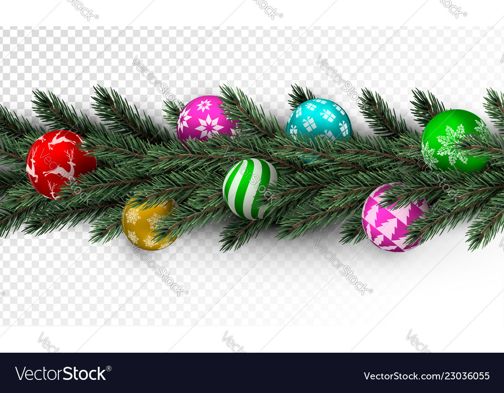 Transparent Christmas Garland With Colorful Bauble