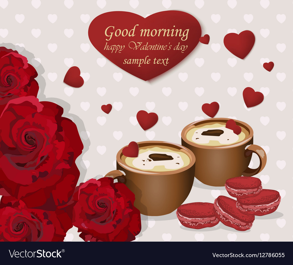 two coffee cups and red velvet macaroons on hearts