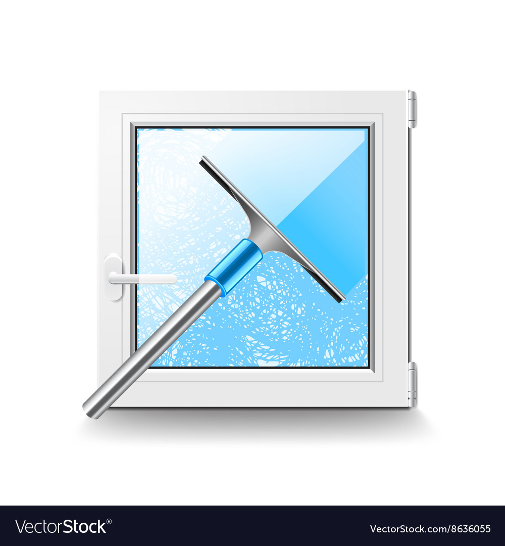 Window cleaning isolated on white
