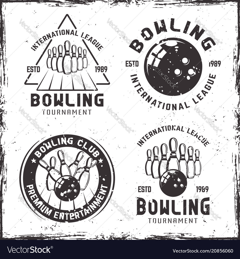 Bowling set of four vintage emblems or badges
