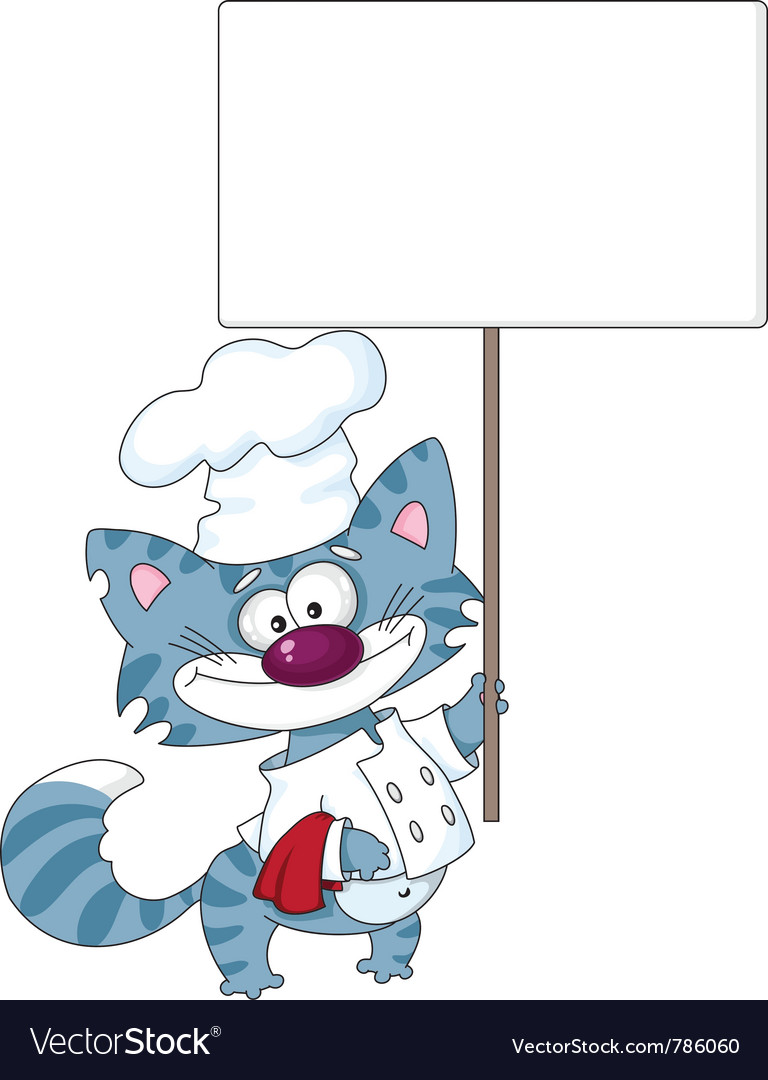 Cat the cook with blank sign vector image