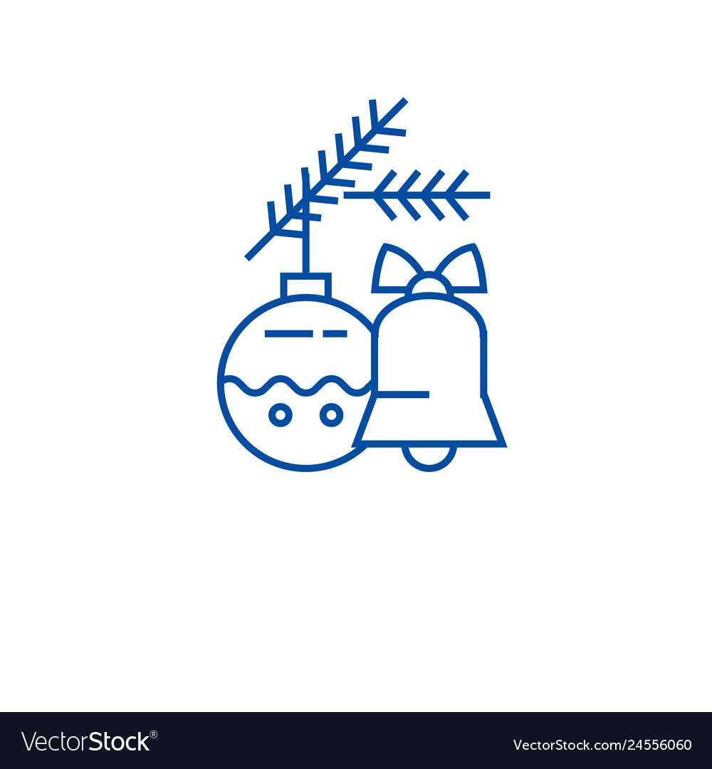 Christmas bell decoration ball line icon concept