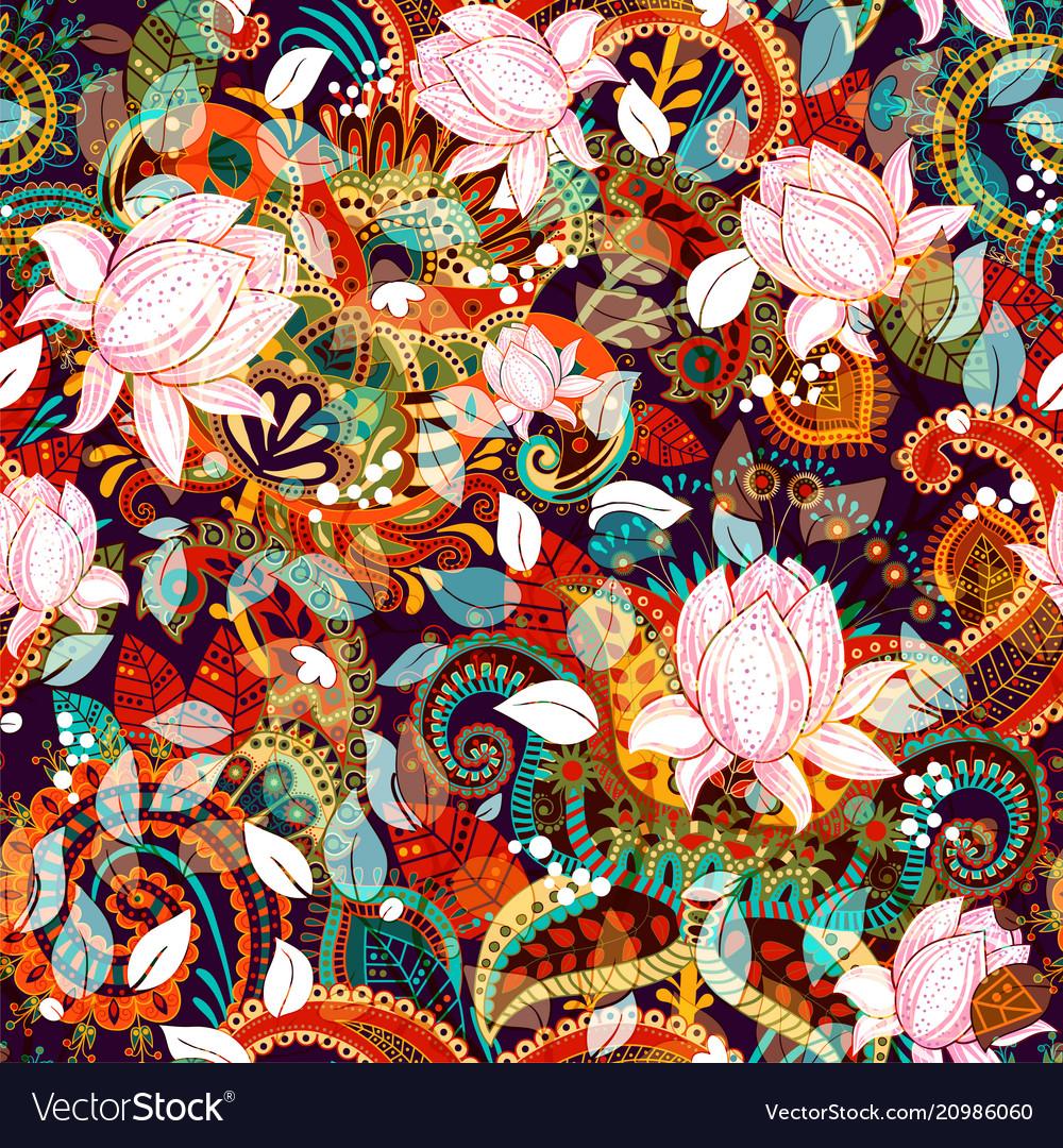 Colorful seamless paisley pattern decorative