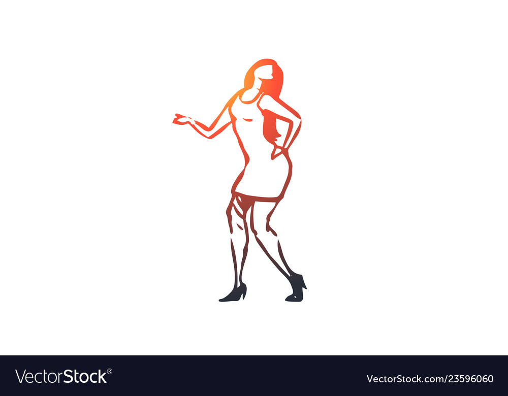 Dancing woman girl active party concept hand