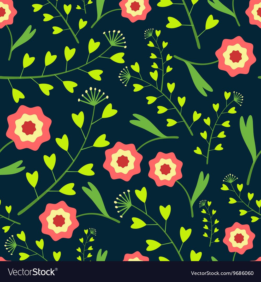 Dark Pattern with Flowers and Grass