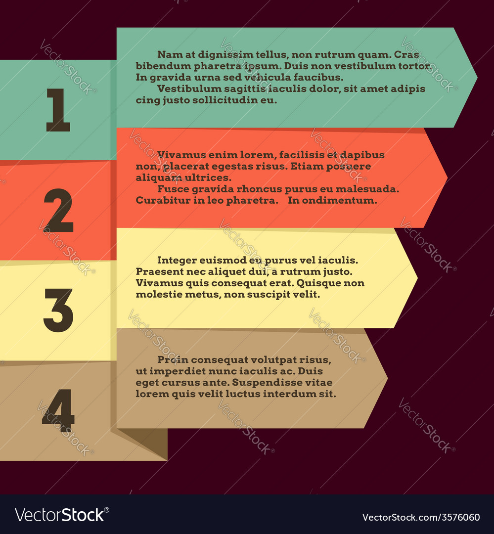 Flat infographic with ribbon pointers vector image
