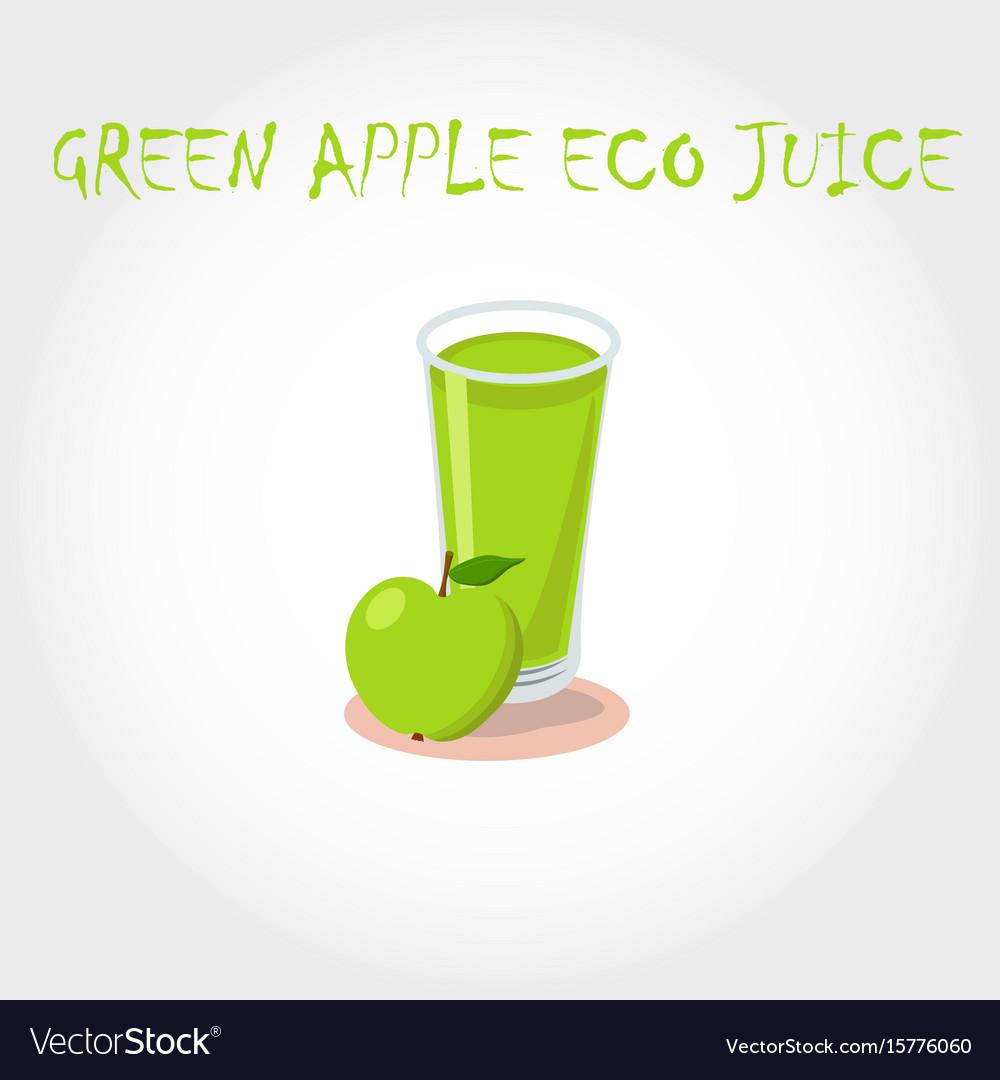 Glass Bio Fresh Green Apple Juice Royalty Free Vector Image