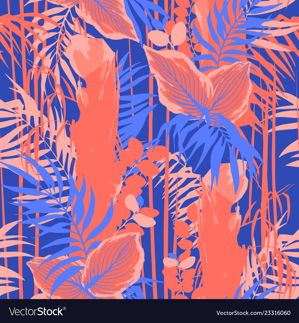 Graphic seamless pattern of exotic leaves and