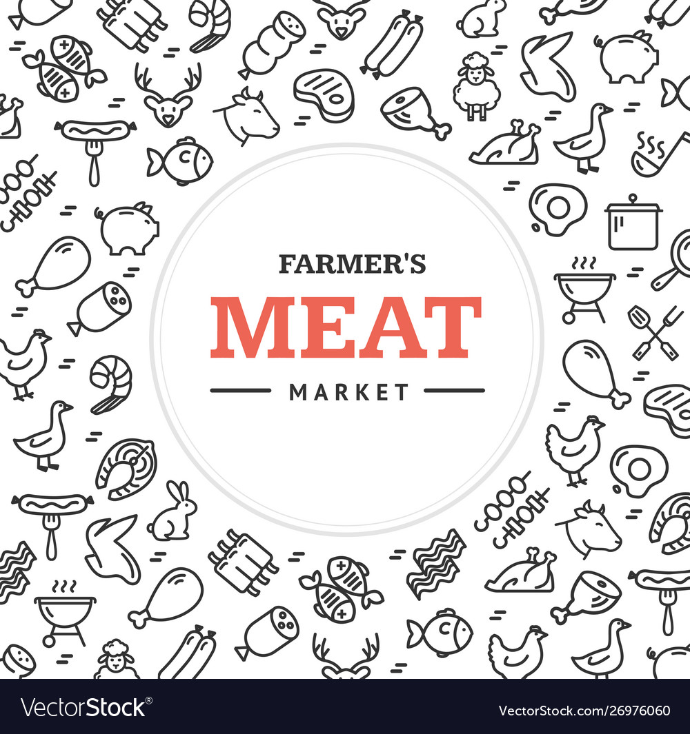 Meat butchery signs round design template thin
