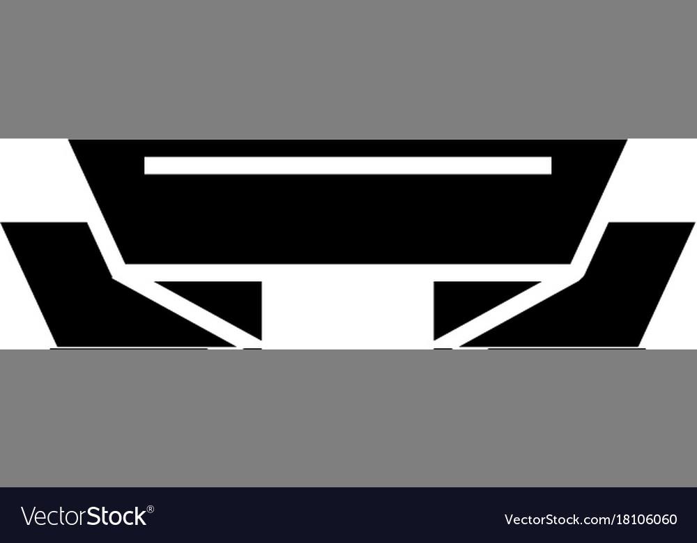 Ribbon 2 corners icon black