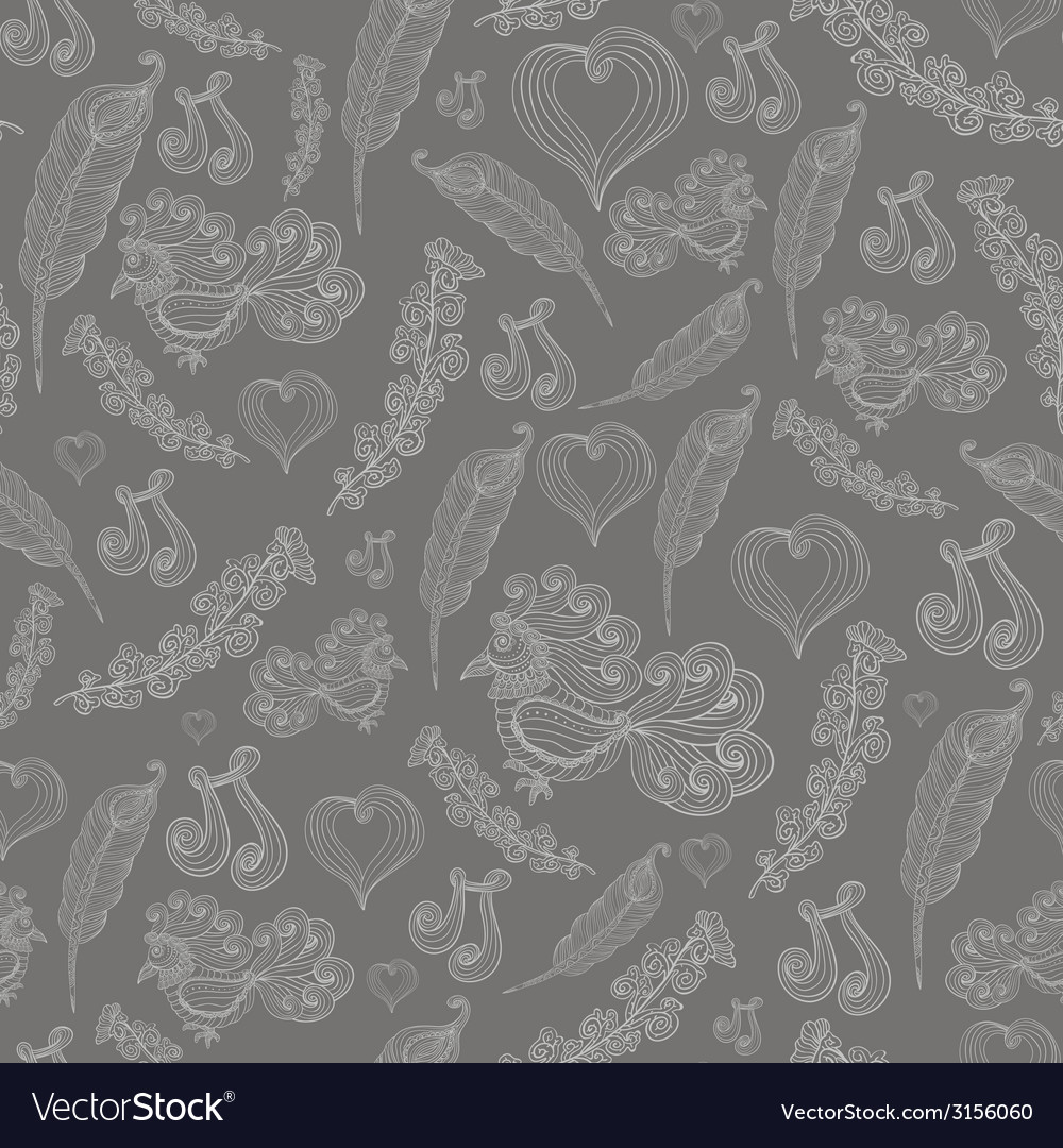 Seamless abstract pattern with grey bird of