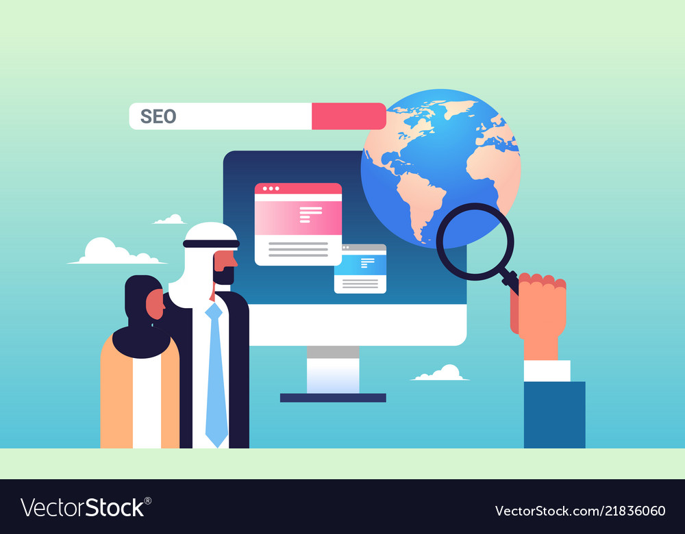 Seo Search Engine Optimization Arabic Couple Vector Image
