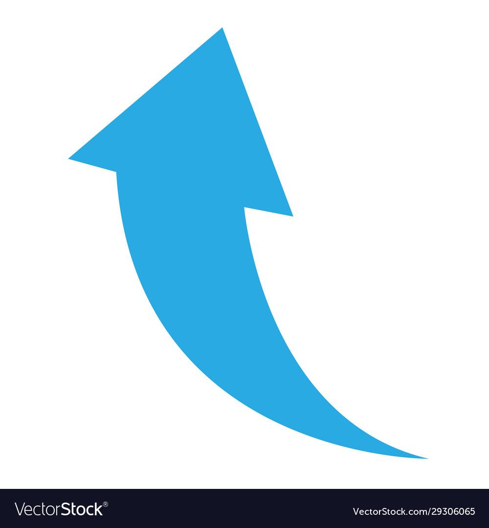 Arrow icon on white background flat style blue