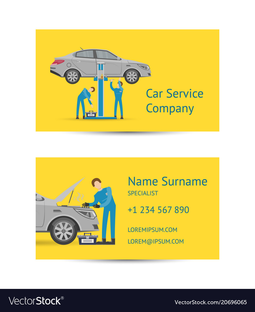 Business card template for auto service royalty free vector business card template for auto service vector image wajeb Choice Image