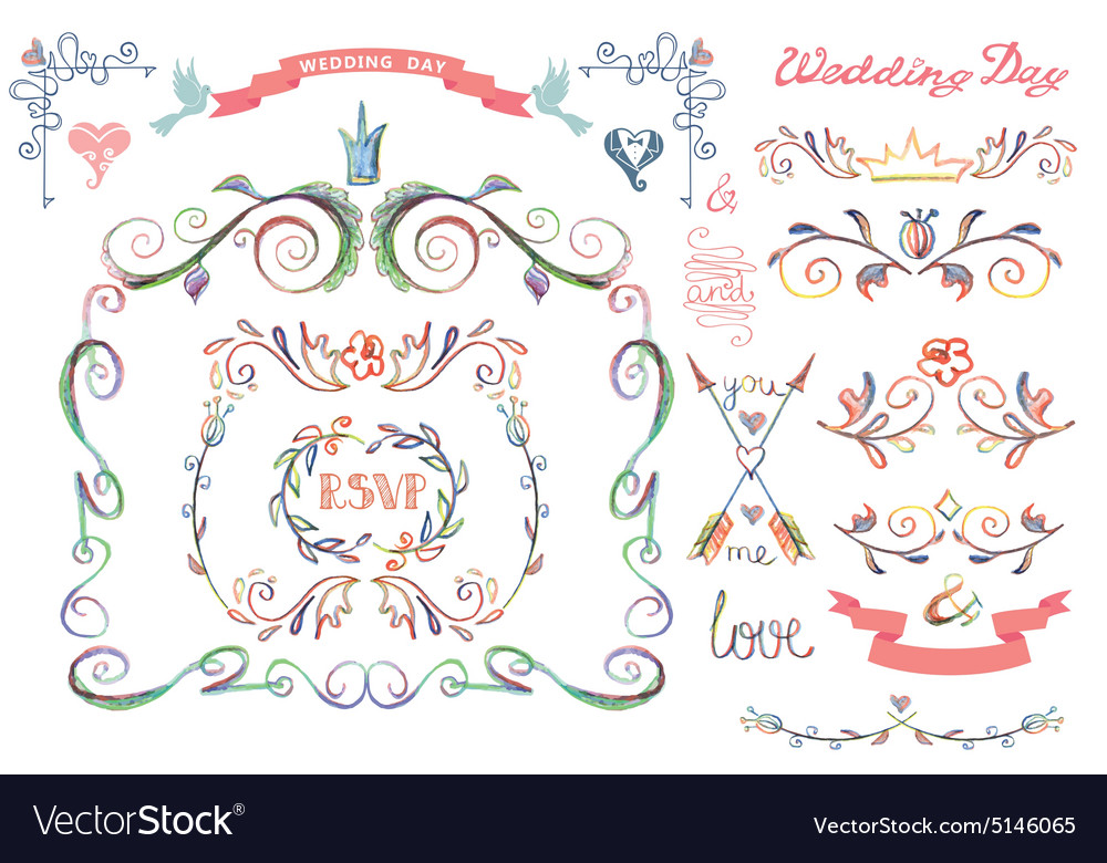 Cute wedding template setFloral Decor element