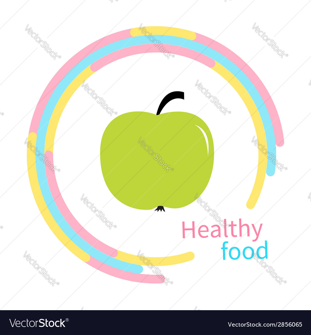 Green apple abstract round frame Diet concept