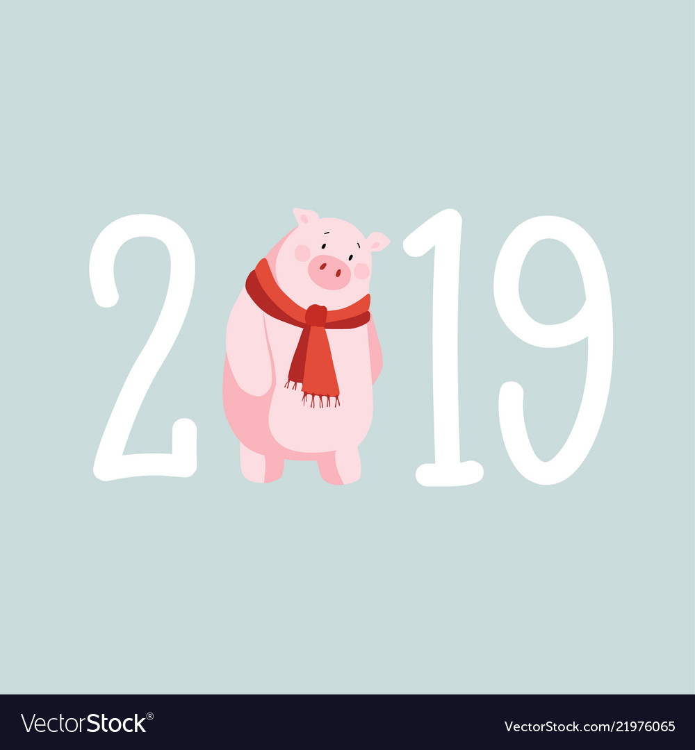 Happy new year 2019 greeting card invitation with