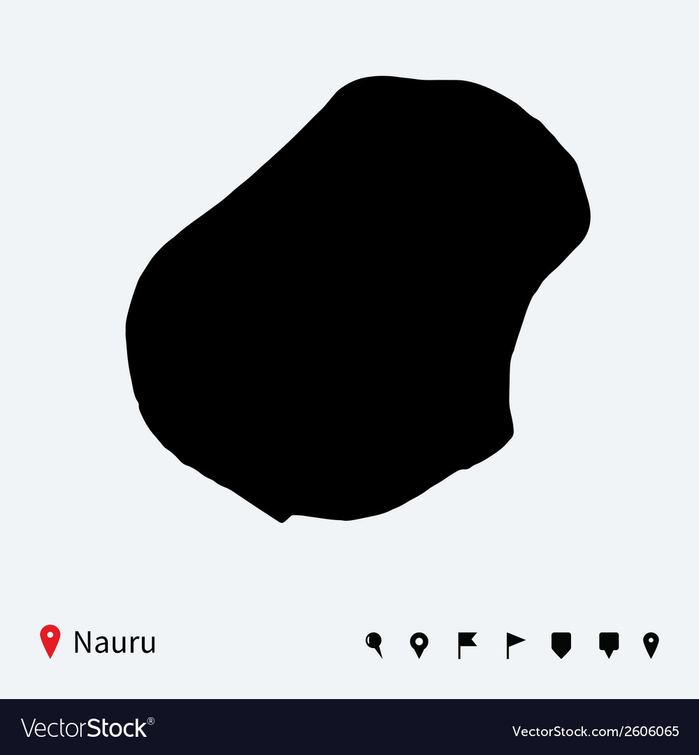 High detailed map of Nauru with navigation pins