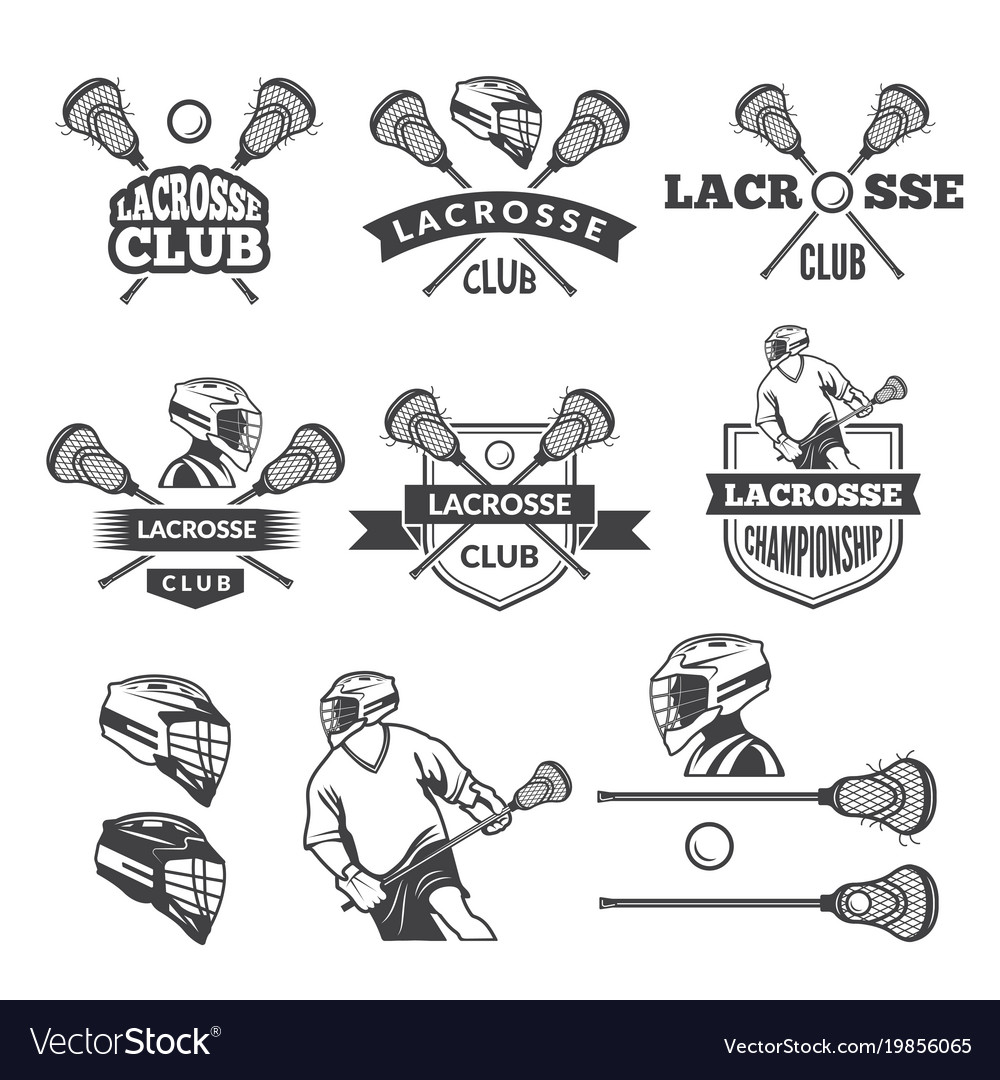 Labels of lacrosse club monochrome