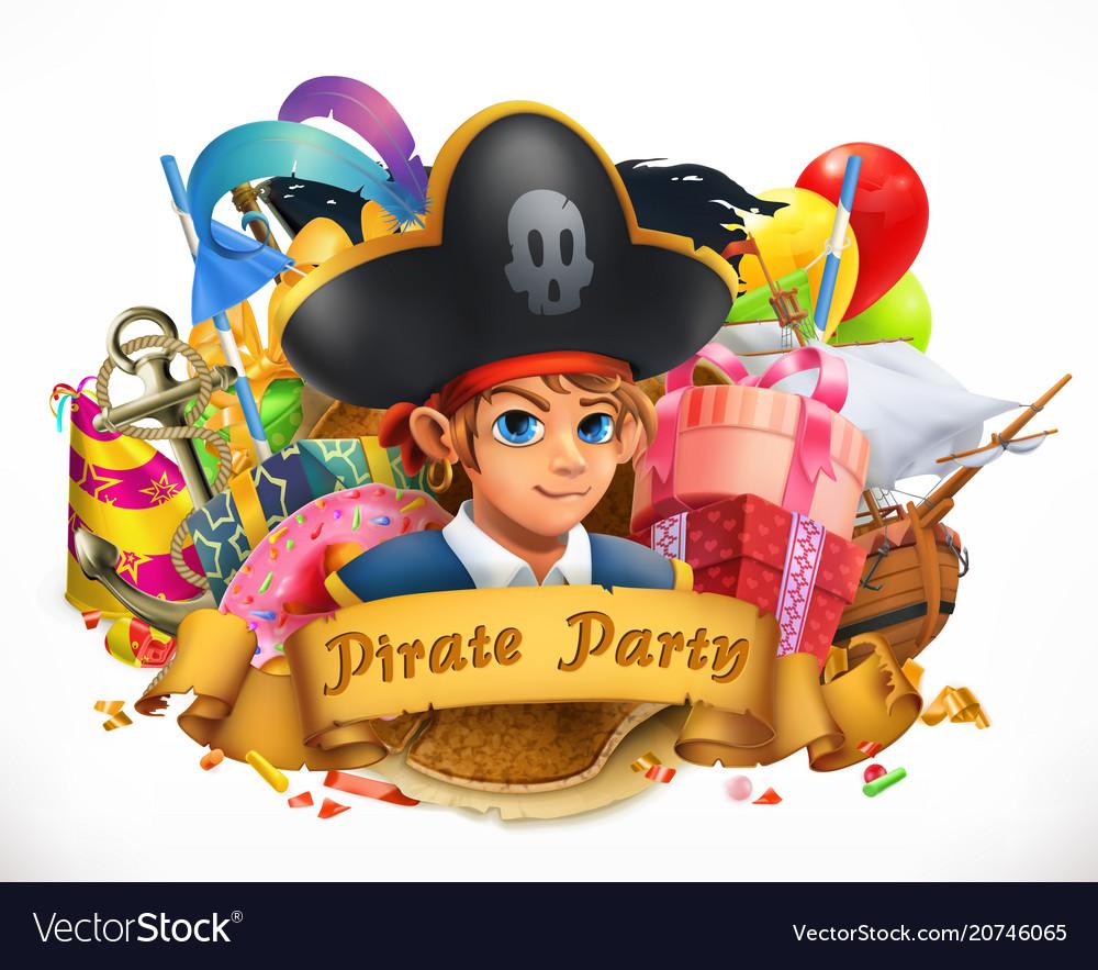 Pirate party children holiday 3d emblem