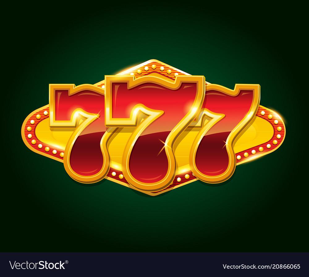 Set of 777 gold casino jackpot sign