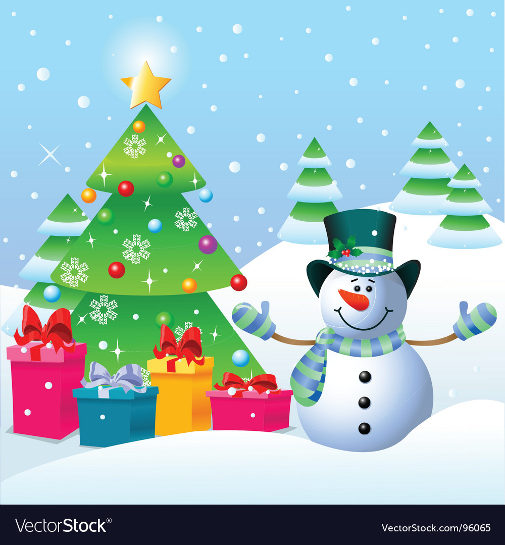 Snowman And Christmas Tree Royalty Free Vector Image