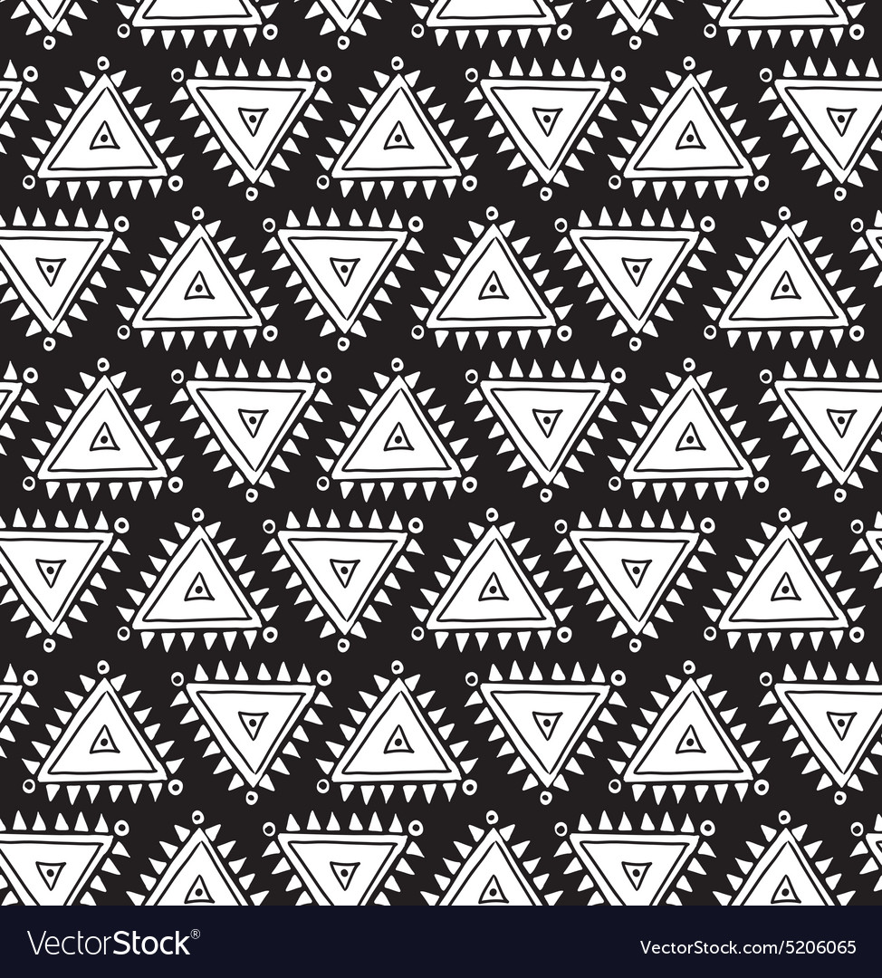 Tribal seamless pattern with triangles Geometric