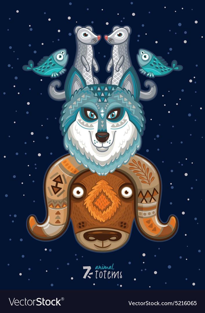 Wild totem animal Husky vector image