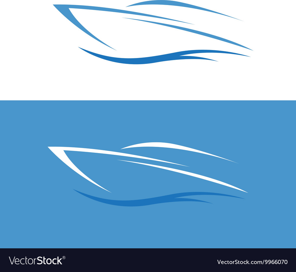 Abstract fast boat outline design template