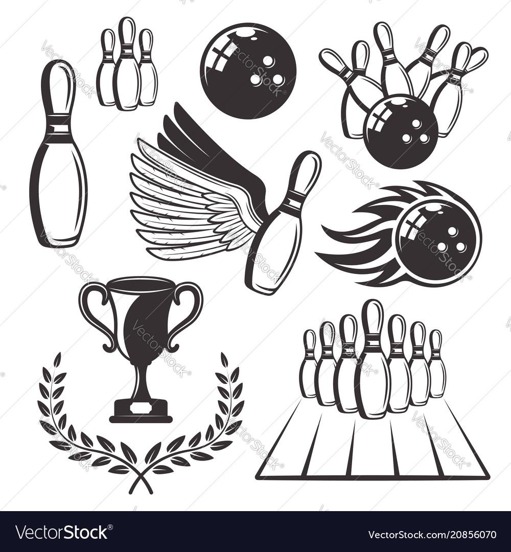 Bowling set black retro design elements