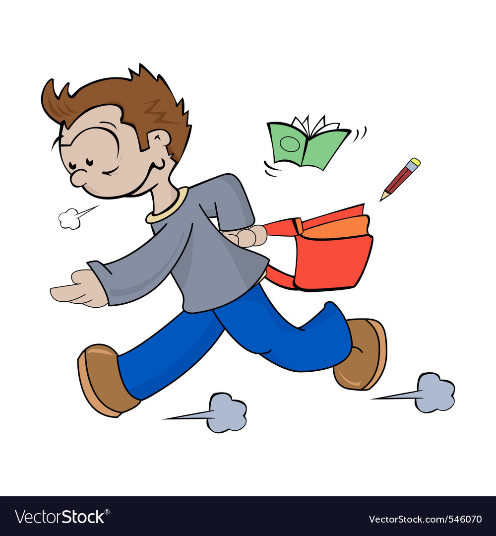 Cartoon drawing of a boy late for school vector image