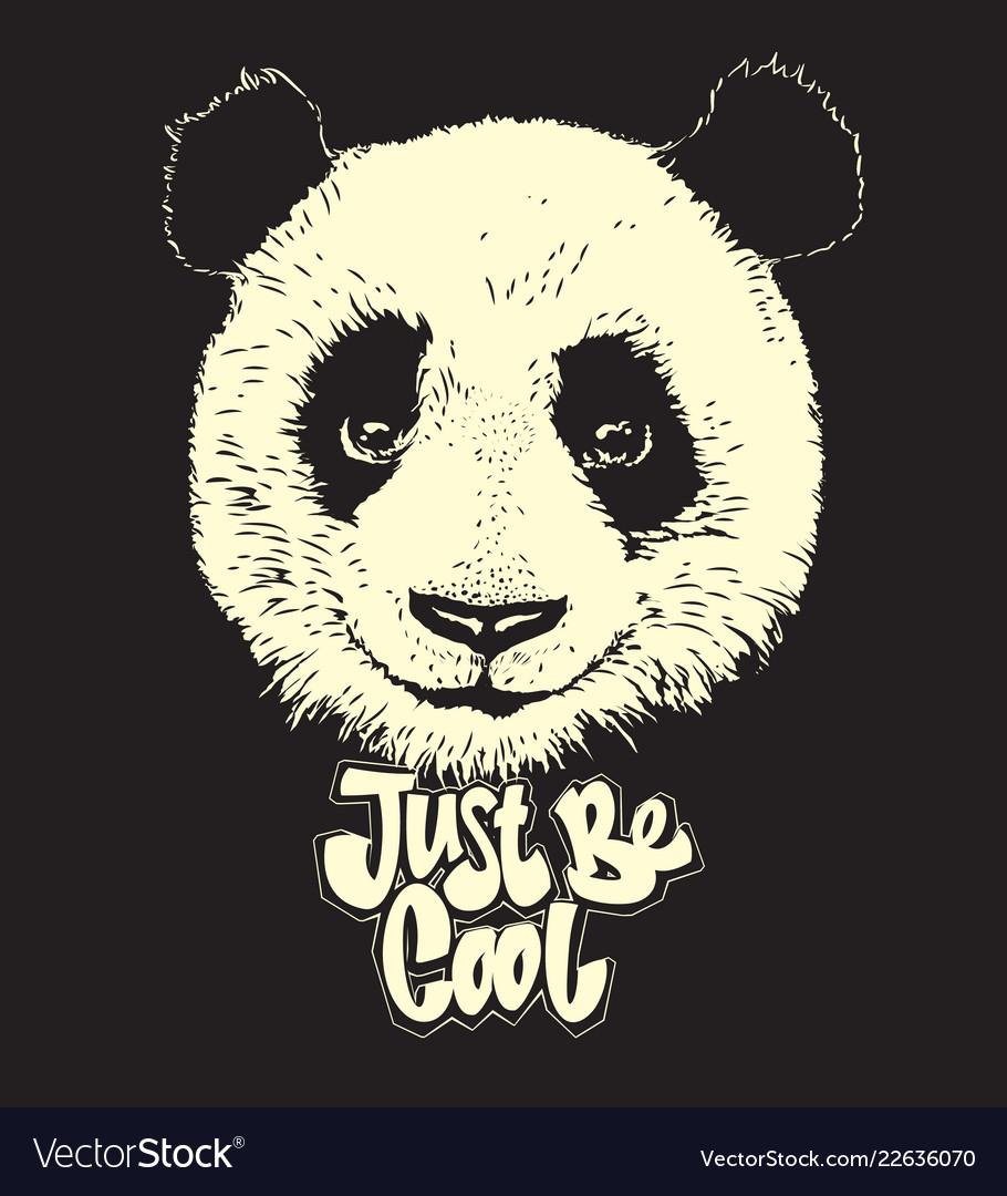 Cute panda hand drawn bear