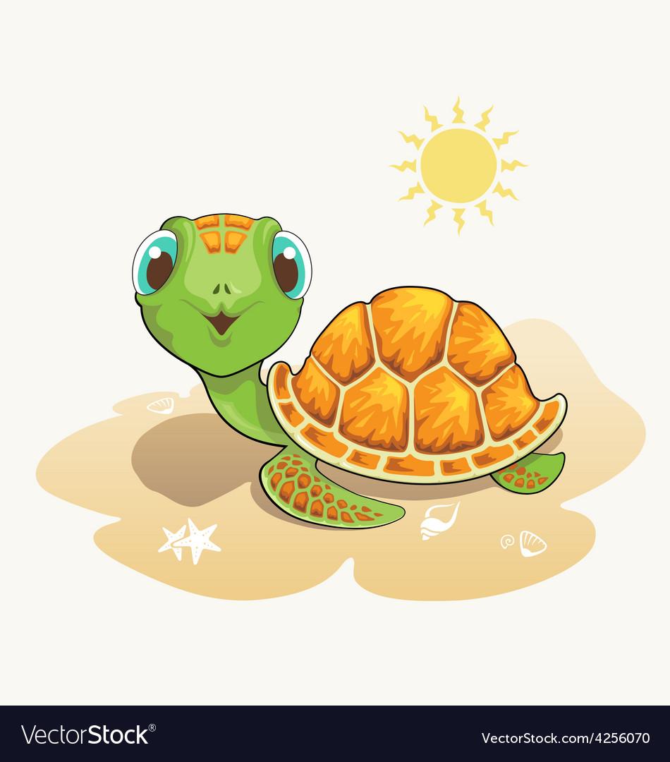 cute turtle cartoon on the beach royalty free vector image