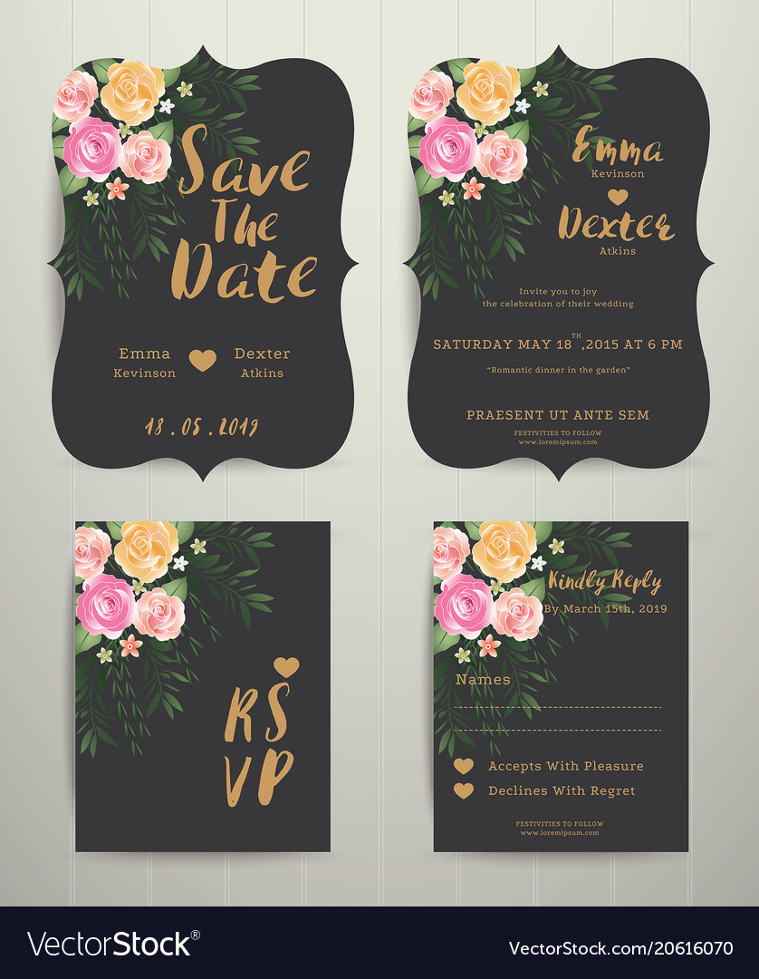 Floral wedding invitation save the date card with