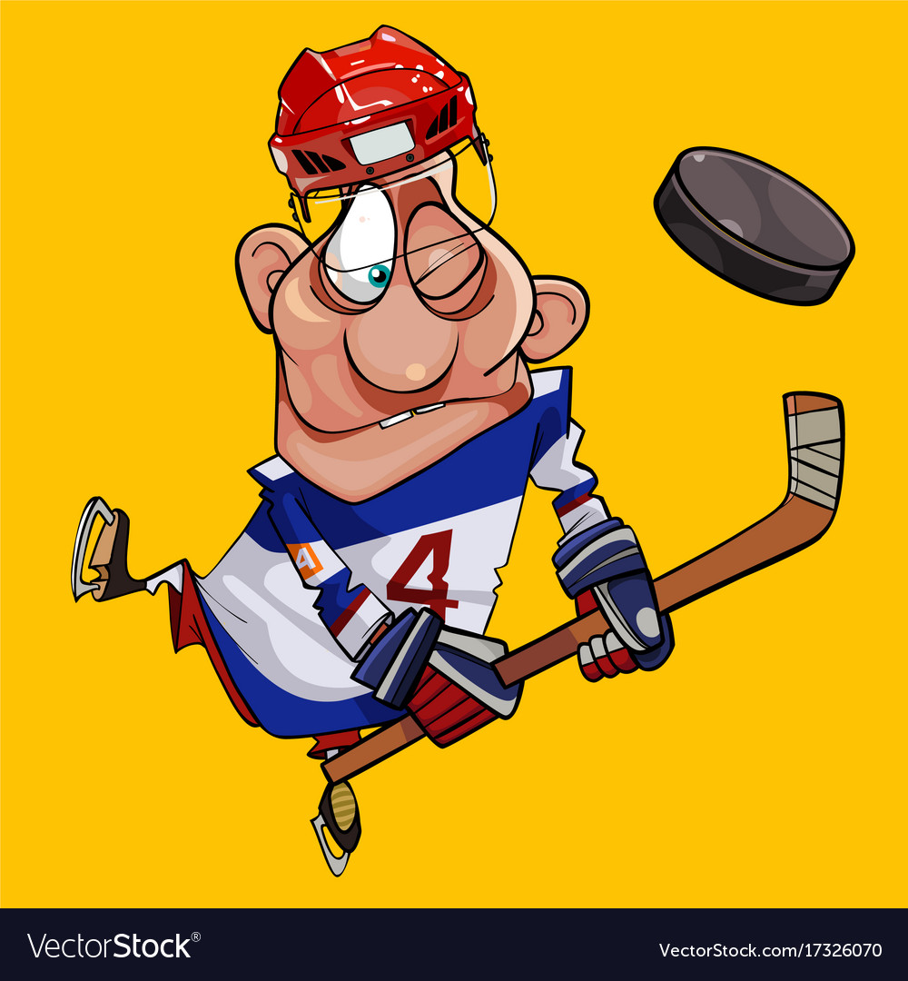 Funny cartoon hockey player with stick and puck vector image