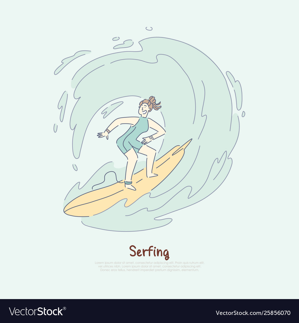Girl on surfboard riding wave female surfer