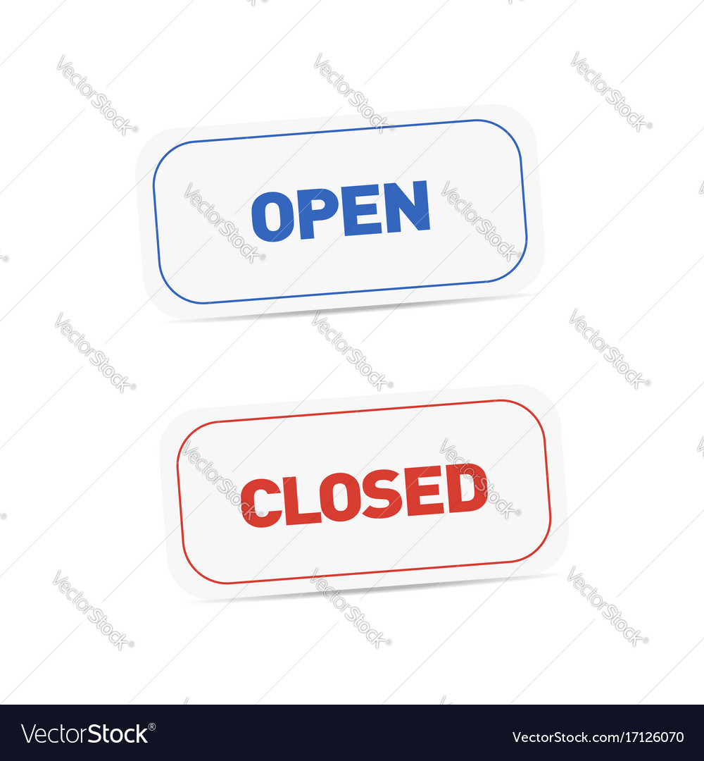 Open and closed signboards tags isolated