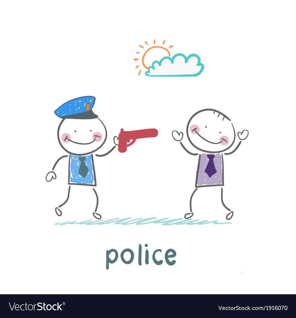 Police with a gun against a criminal vector image