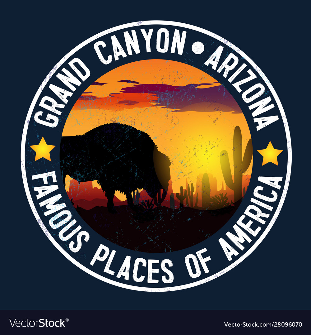 Sticker with a bison and landscape gran
