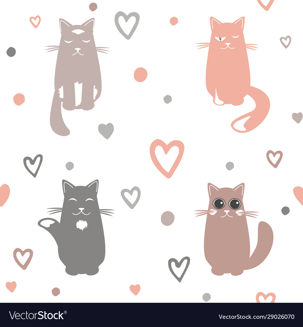 Valentine day background with cats and hearts vector