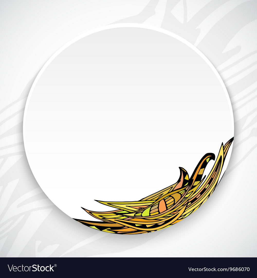 White plate with leaf ornament tribal style vector image