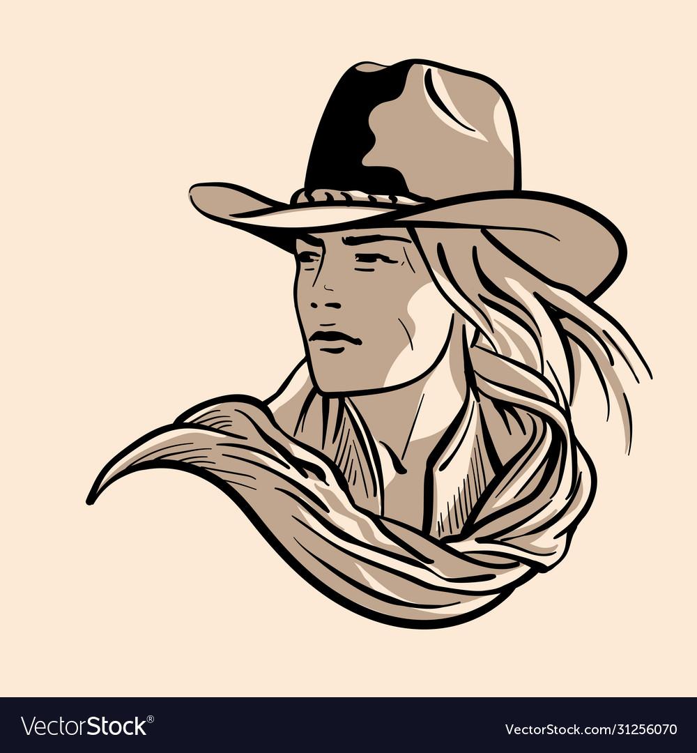 Woman with a cowboy hat cowboy girl face portrait