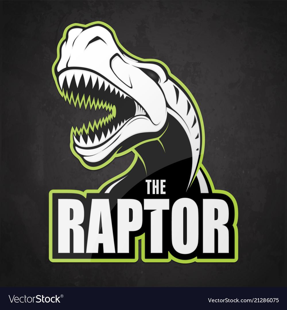 Black and white dinosaur emblem on a dark