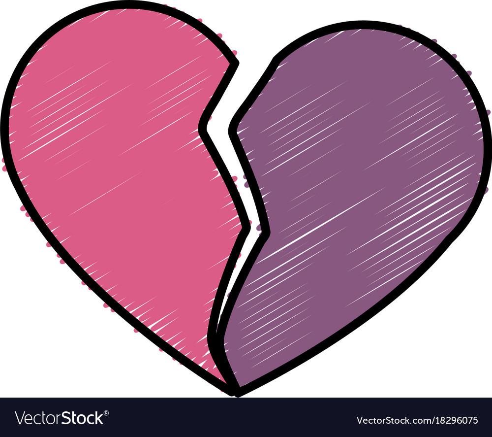 Broken Heart Symbol Royalty Free Vector Image Vectorstock