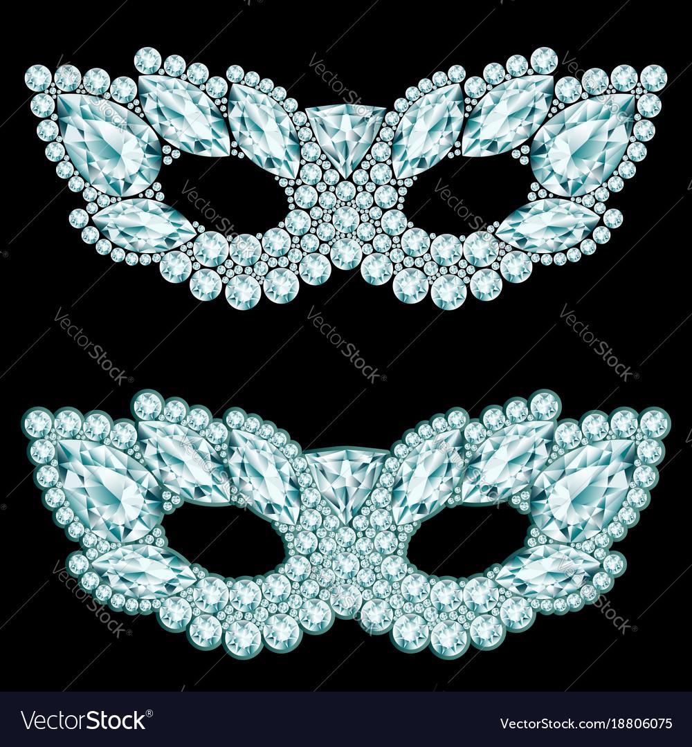 diamond carnival masks on black background vector image